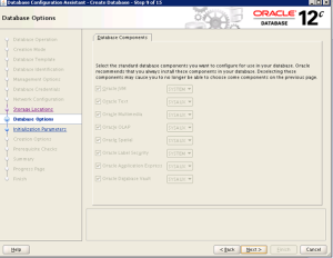 DBCA gui screen